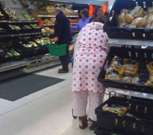 shopping in pyjamas