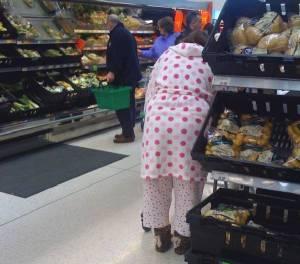 shopping in pyjamas